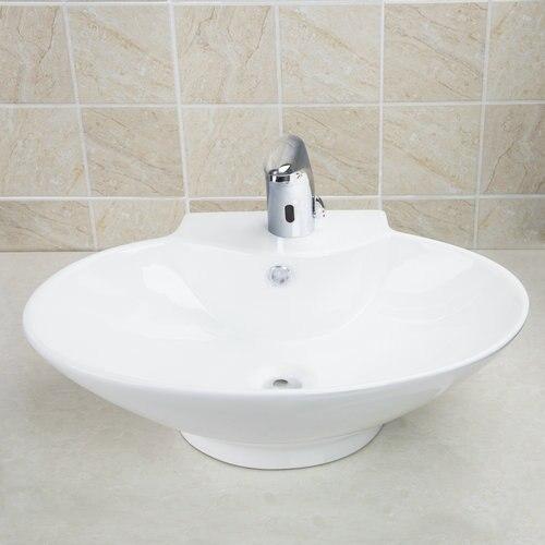 Круглый новые белые Керамика умывальника судна Туалет бассейна лук на бортике раковины Ванная комната крылом