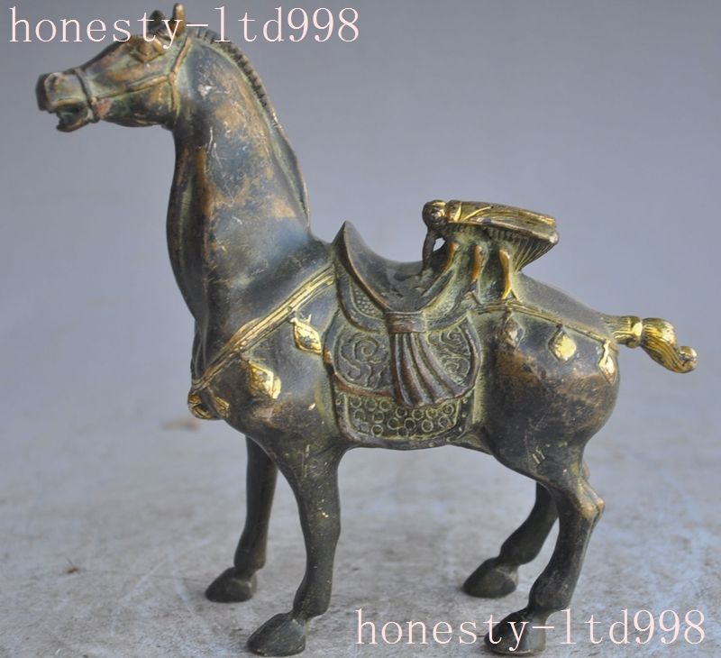 Crafts statue old chinese fengshui bronze gilt animal horse Flies lucky success fu statue halloween