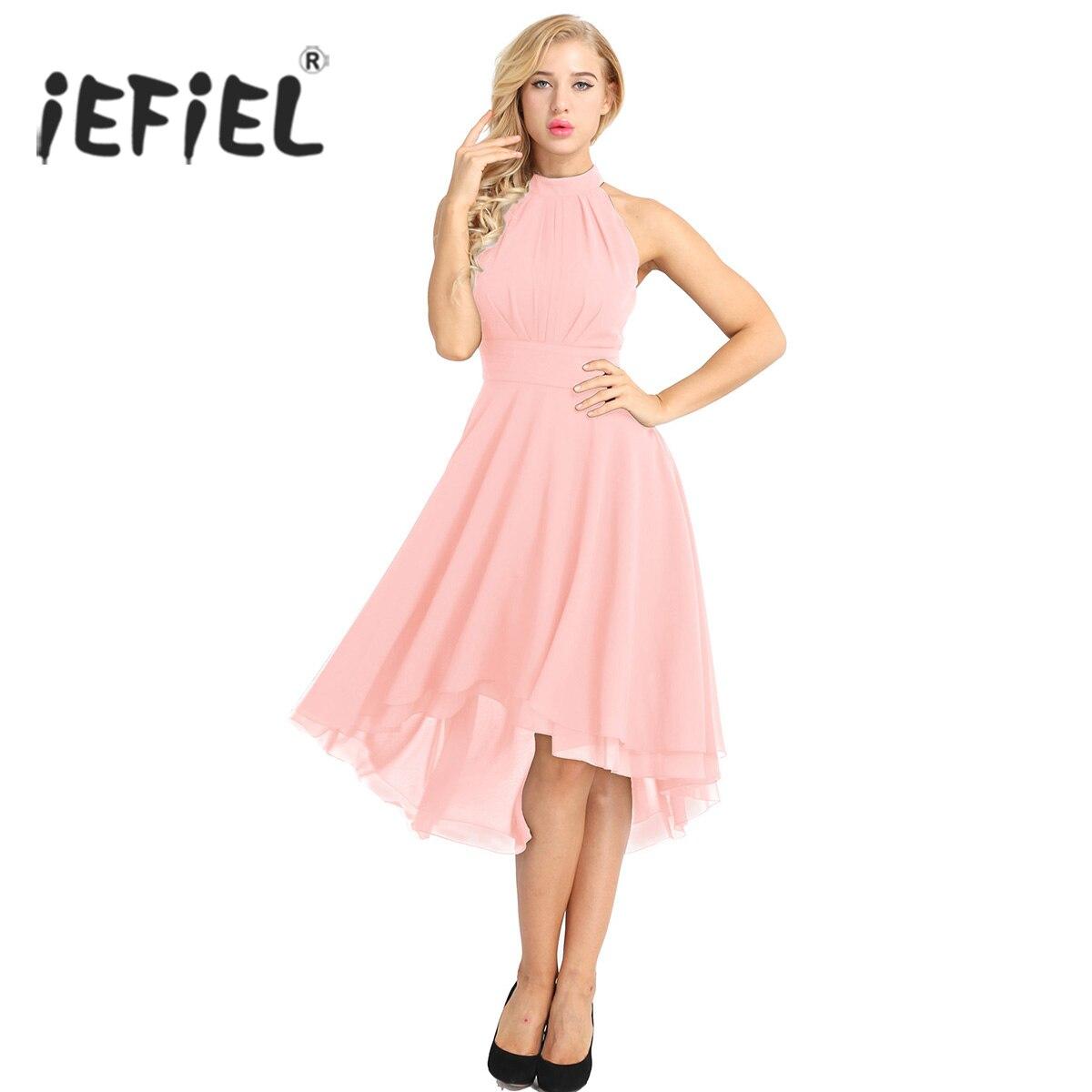 iEFiEL Women Ladies Halter Neck Sleeveless High-low Chiffon Elegant Dresses Vestido de festa Evening Party Prom Gown Dresses