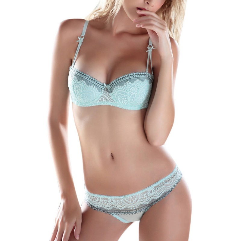 2 Pcs/Set Summer Women Girls Sweet Lace Embroidery Half Cup Bowknot Sexy Push Up Underwear And Panty Bra Set