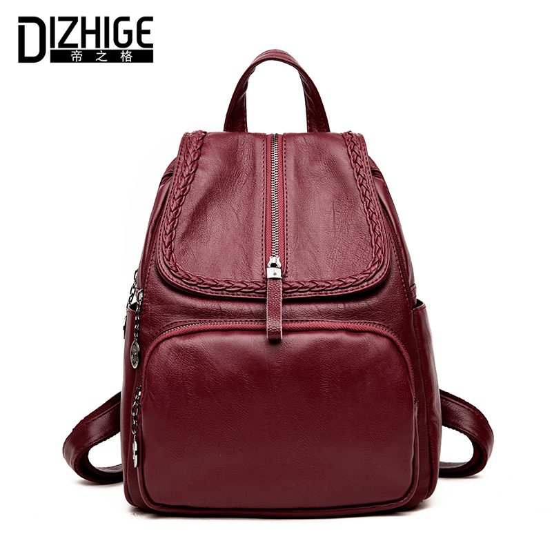 DIZHIGE Brand Fashion Women Backpack Designer Leather Backpacks For Teenage Girls Schoold Bags Backpack Women High Quality 2018 2016 fashion women waterproof pu leather rivet backpack women s backpacks for teenage girls ladies bags with zippers black bags