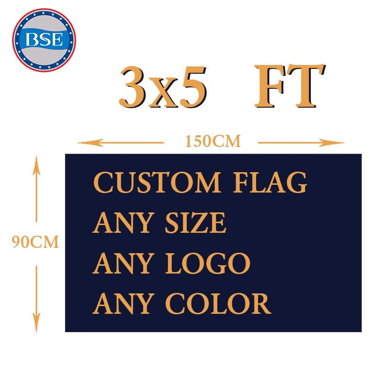 Bandera personalizada 150X90 cm (3x5FT) 120g 100D poliéster logotipo color real carcasa Banner de publicidad