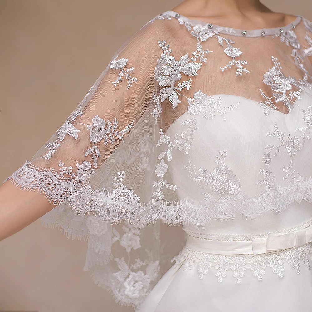 JaneVini 2018 Musim Panas Gading/Red Beaded Lace Bolero Selendang Pengantin untuk Pernikahan Cape Pendek Evening Dresses Trouw Accessoires