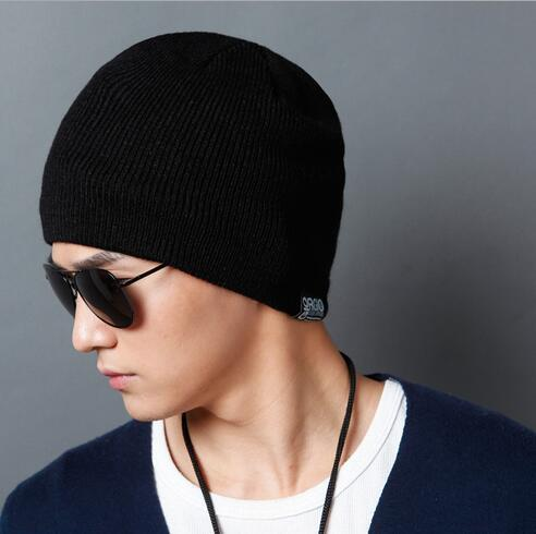 Winter Beanies Solid Color Hat men Knitted Warm Soft Beanie Double layer 100% cotton Cap bonnet Gorro Caps For Men Women