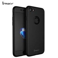 Ipaky original 360 caso para iphone 7/ 7 plus pc 360 capa de corpo inteiro + protetor de tela vidro temperado caso luxo para iphone 7
