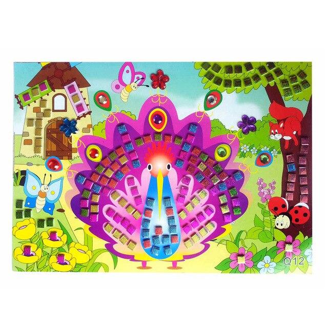 12 estilo 3D niños puzle DIY cristal mosaico pegatina niños jardín de infantes artes y artesanías temprano