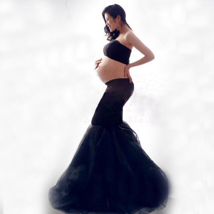 Black Ankle-Length Lace Maternity Photography props Long Pregnancy Dresses for Photo Sho ...