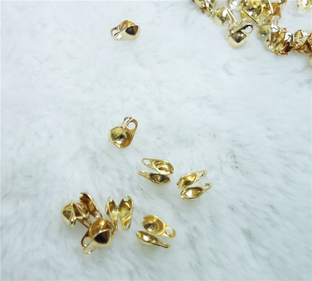 91cf79d14517 200Pcs Lot Golden Snaps Jewelry Material Bisuteria Beads Brand Necklace  Bead Caps For Fine Jewelry