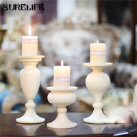 White Metal Candle Holders Stand Flowers Vase Candlestick As Road Lead Candelabra Centre Pieces Wedding Decoration