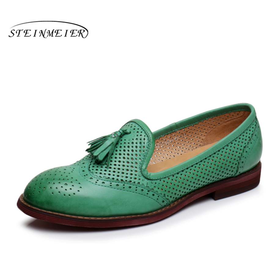 Genuine leather woman designer vintage flats shoes handmade oxford shoes for women 2018 spring green yellow beige blue