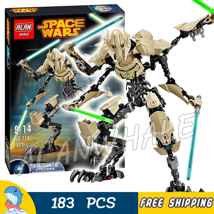 183PCS New Space Wars General Grevious Figures Light Sabers 714 Model Building Blocks Toys Set Bricks Compatible With Lego