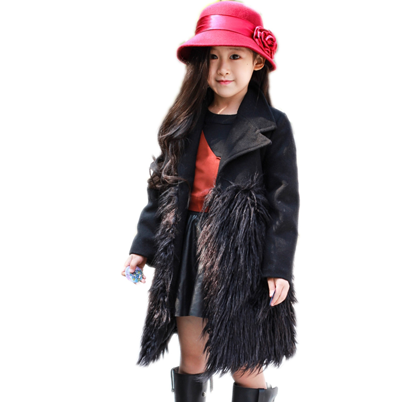 2018 Turn Down Collar Girls Wool Outerwear Fluffy Girl Faux Fur Coat Fur Patchwork Cool Children Overcoat Big Girls Fur Jackets 2018 turn down collar girls wool outerwear fluffy girl faux fur coat fur patchwork cool children overcoat big girls fur jackets