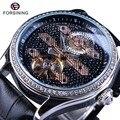Forsining Diamant Luxus Display Trendy Luxus-design Echtes Leder Gürtel Automatische Uhr Männer Luxury Brand Fashion Tourbillion