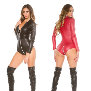 Sexy Long Sleeve Faux Leather Bodysuit Lingerie Open