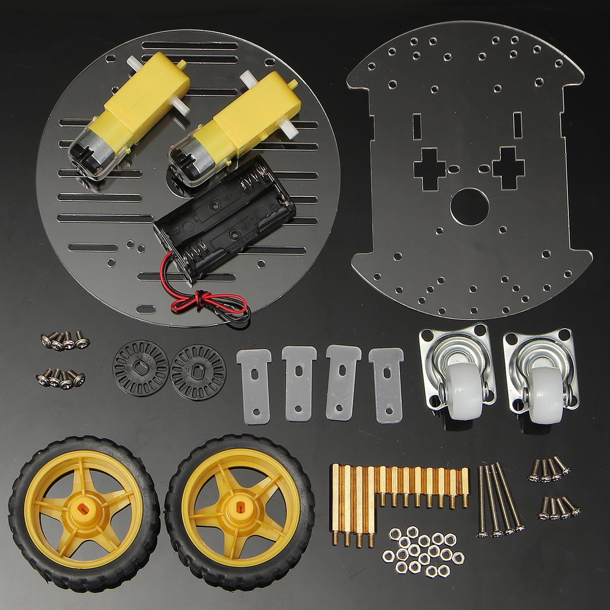 Set wd mini round double deck chassis kit robot smart