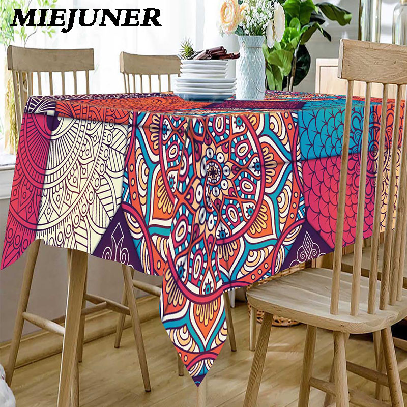 Meijner Waterproof Tablecloths for Rectangular Table Polyester Bohemian Table Cloth Coffee Dining Table Home Decors MJ020 image