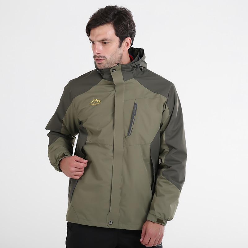 130kg Can Wear 3 in 1 Hiking Jackets Men Loose Big Size 7XL 8XL Winter Windbreaker Warm 2 in 1 Outdoor Camping Trekking Coat kangfeng жёлтый цвет 7xl
