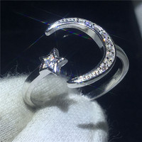 Moon Star Shape Promise Ring 100 Soild 925 Sterling Silver Jewelry AAAAA Zircon Cz Engagement Wedding