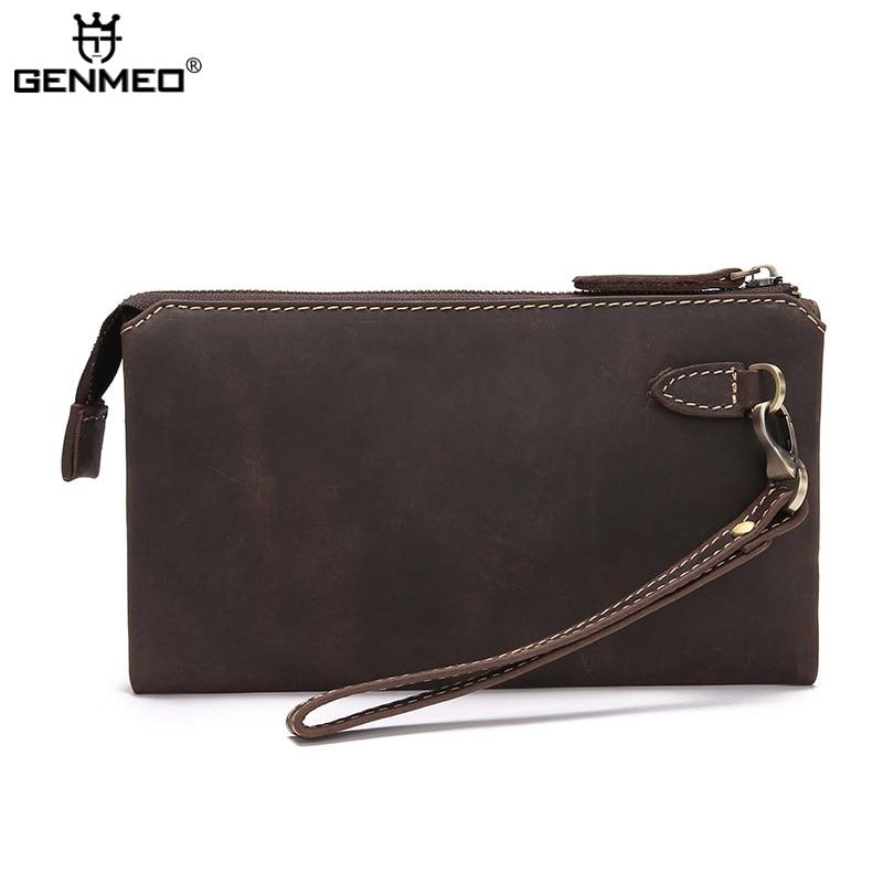 MAIFEINI Retro Cow Leather Handbag Men <font><b>Phone</b></font> Pocket Genuine Leather Wallets Clutch Money <font><b>Purse</b></font> Card Holders <font><b>Pouch</b></font> Bolsa