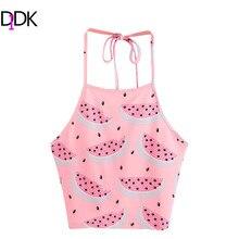 DIDK Women Tops Summer 2017 Sexy Sleeveless Top Women Pink Watermelon Print Crop Halter Top Cute