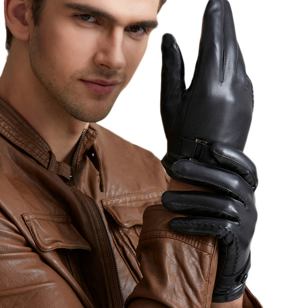 Mens leather gloves thin - Men S Sheepskin Leather Gloves Autumn And Winter Touch Thin Plus Thick Velvet Warm Korean Driving Business