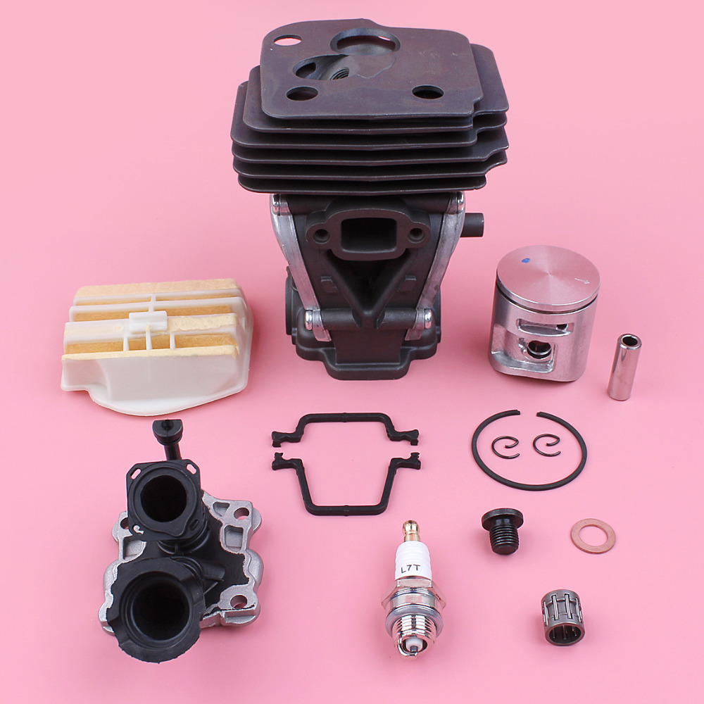 42mm Cylinder Piston Air Filter Intake Pipe Manifold Kit For Husqvarna 445 445E Chainsaw Replacement Part 44mm cylinder piston ring pin kit for husqvarna 445 445e 450 450e chainsaw 544 11 98 02 nikasil plated replacement parts