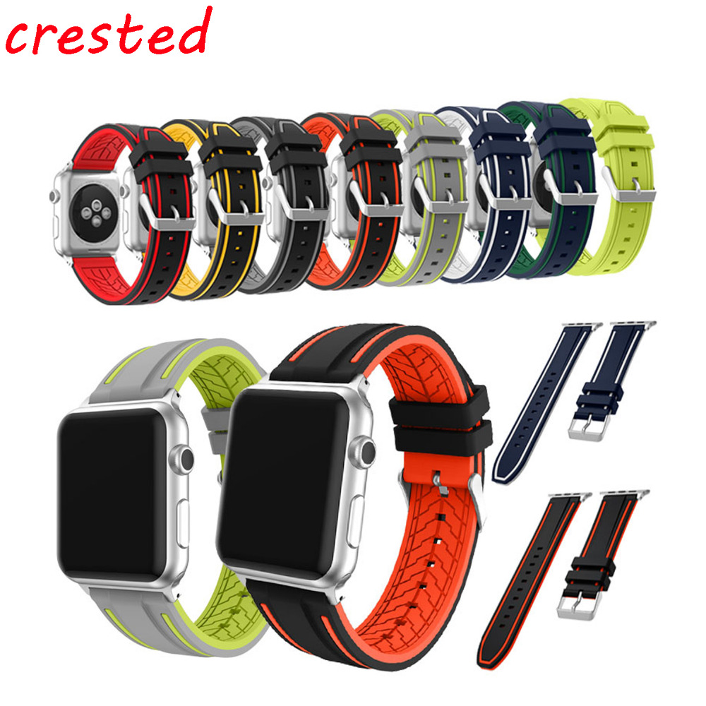 все цены на CRESTED sport silicone band for apple watch band 42mm 38 mm Soft Silicone watch strap For iWatch 3/2/1 bracelet watchband онлайн