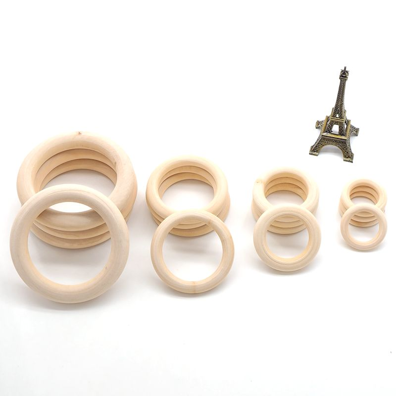 Купить с кэшбэком Chenkai 40mm/55mm/70mm/55mm Natural Unfinished Wood Rings Wooden Teethers For DIY Baby Necklace Bracelet Accessories