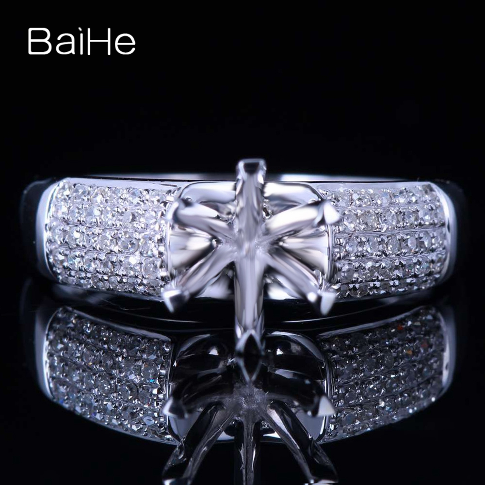 BAIHE Sterling Silver 925 5.5 to 6.5 mm Round No Main Stone Wedding Women Trendy Fine Jewelry Fashion Fashion Ring Semi Mount   BAIHE Sterling Silver 925 5.5 to 6.5 mm Round No Main Stone Wedding Women Trendy Fine Jewelry Fashion Fashion Ring Semi Mount