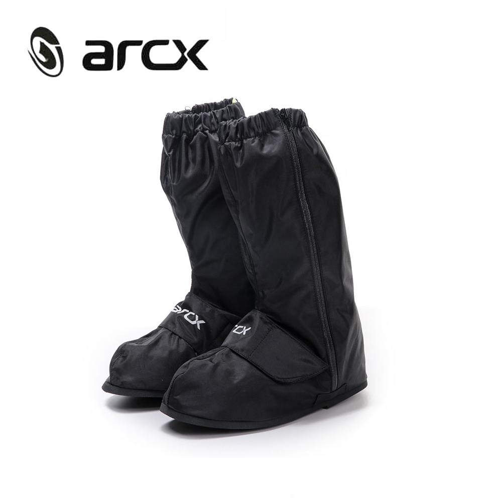 ARCX Motorcycle Waterproof Rain Shoes Covers Adjustable Tightness Reusable Waterproof Non-slip Rain Black Shoes Boots Cover