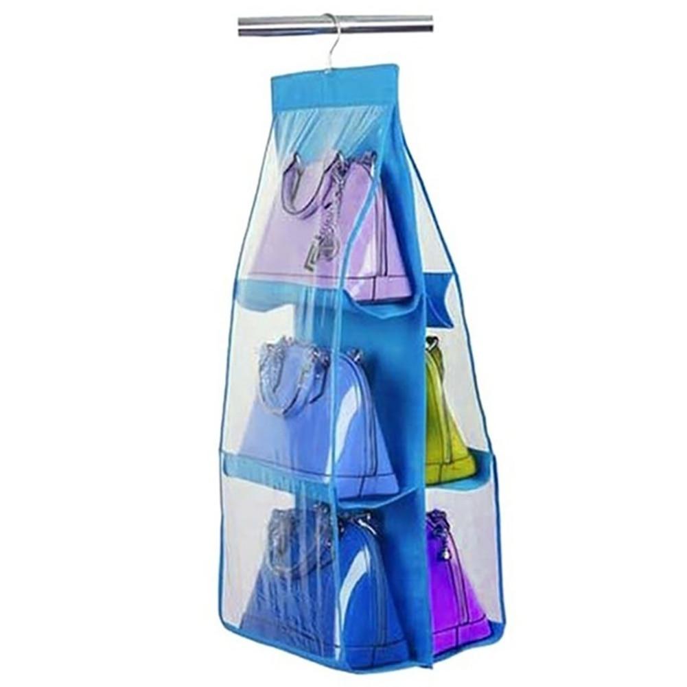 New 6 Pocket Clear Purse Handbags Organizer Door Closet Shelf Hanging Storage Bag Fashion in Storage Bags from Home Garden
