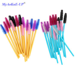 500 Pcs/lot Disposable One-off 5 Mix Colors Nylon Mascara Wands Eyelash Extension Applicator Spoolers Makeup Brushes
