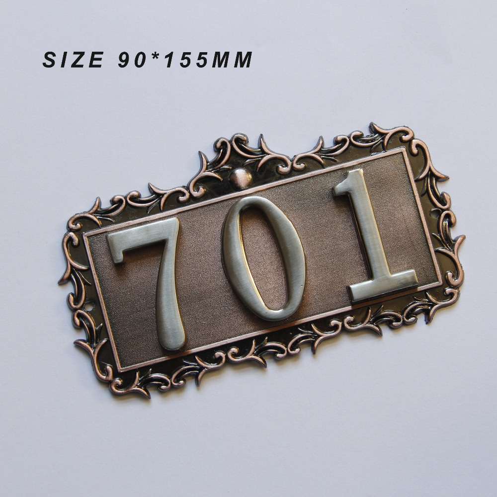 3 Digits European Style House Number High-grade 3D Digital Cards Gate Numbers Hotel Villa Apartment Door Plating Plate Signs