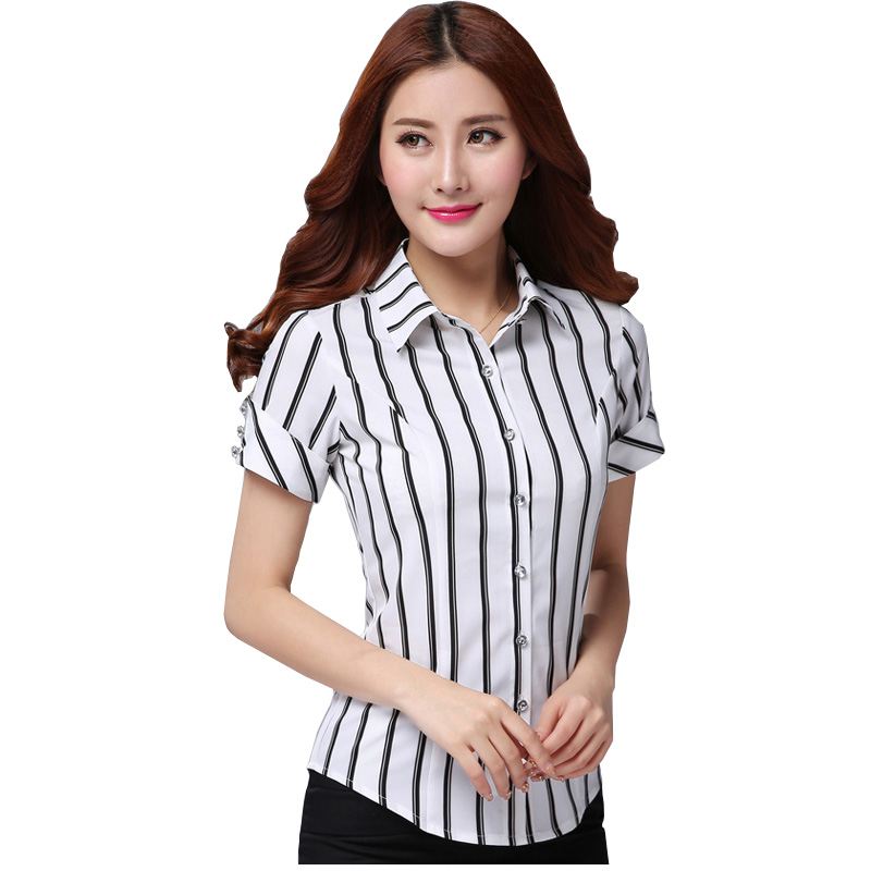 Black & White Striped Lady Chiffon Shirts BIG SIZE S-4XL Cool Summer Korean Style Short Sleeve Women Fashion Blouses