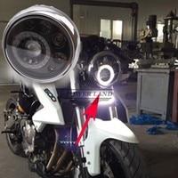 Universal Emark 7 Black Chrome Motorcycle LED Headlight Integrated Angel Eyes Superbright White Light Head Lamp