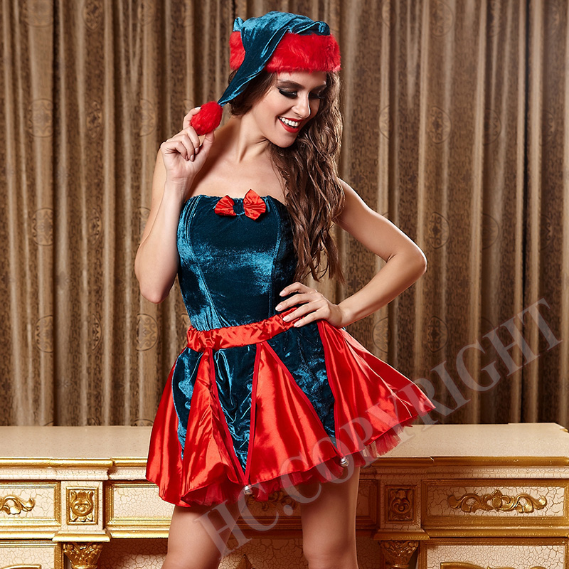 Ladies Santa Claus Costume Sexy Women Christmas Adult Cosplay Fancy Dress Outfit Princess Party Tops+Skirt +Hat +Hairy legging