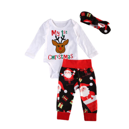 Romper Tops Jumpsuit Long Sleeve Pants Headbands Outfits Set Clothing Christmas Infant Baby Girls Boys Clothes Sets puseky 2017 infant romper baby boys girls jumpsuit newborn bebe clothing hooded toddler baby clothes cute panda romper costumes