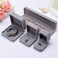 High Quality Gray Round Coner Velvet Engagement Wedding Earrings Ring Pendant Jewelry Display Storage Box Gift Case 4 styles
