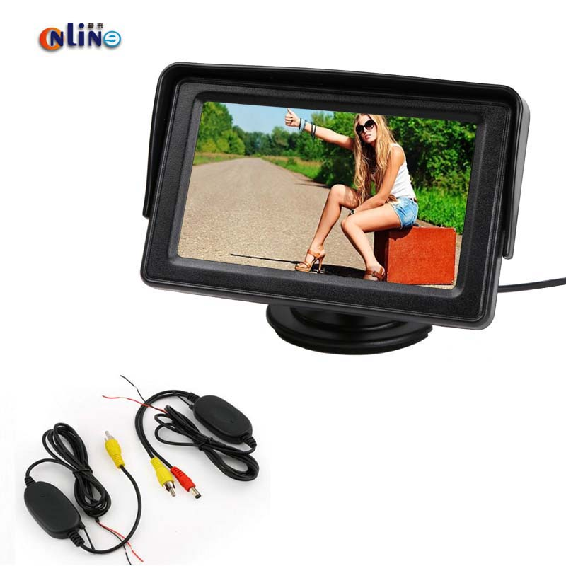 Car HD LCD Mirror Monitor With 2.4Ghz Wireless Video Transmitter and Receiver Kit for Car Parking Assistance Rear View Camera