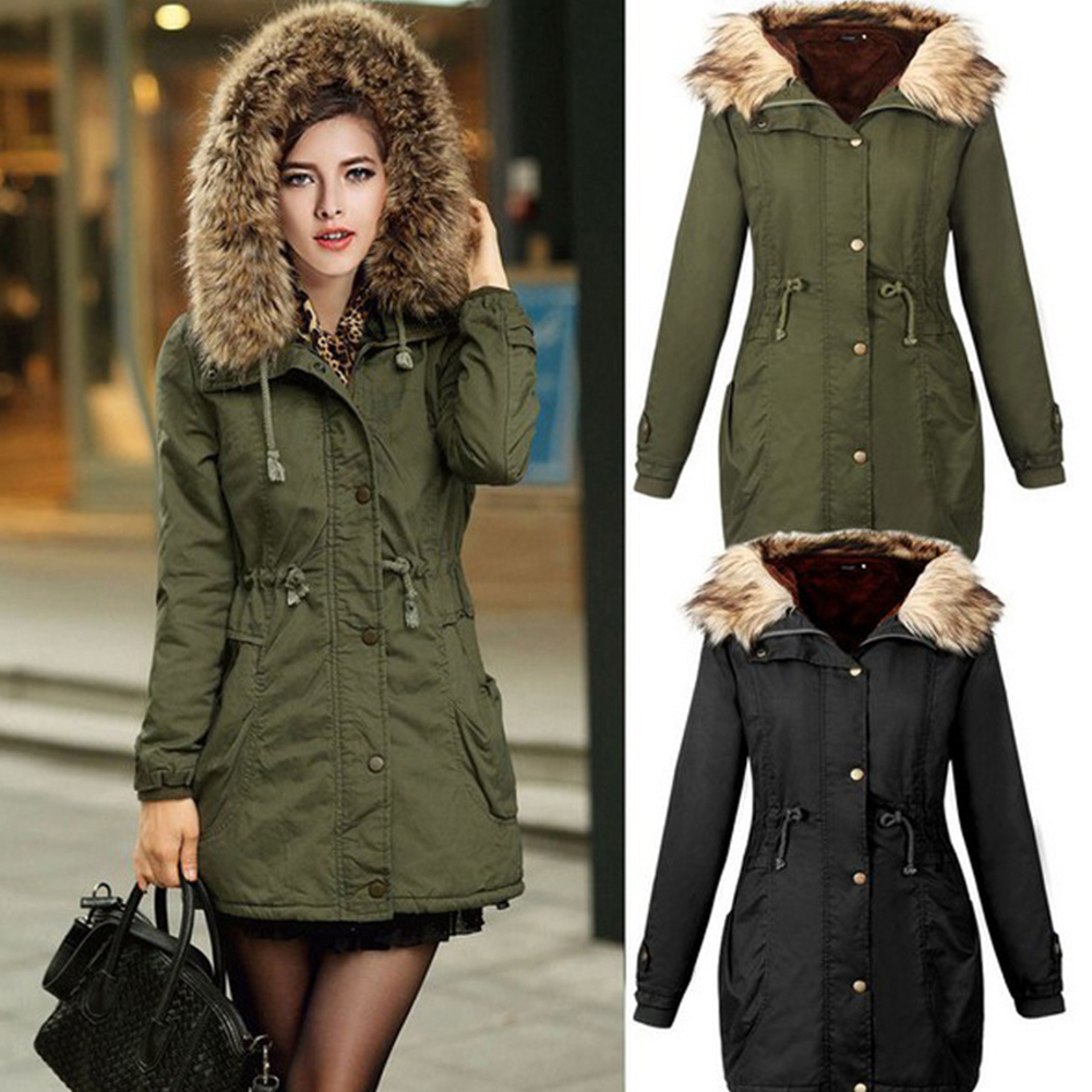 Female Coat Winter Long Cotton Outerwear Plus Size   Parka   Hooded With Fur Thick Clothes For Women Causal Winter Woman   Parka