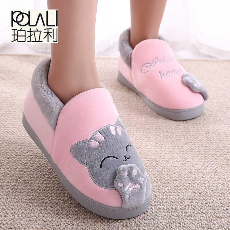 cd8e4877cfc9 Women Winter Warm Home Slippers Cartoon Lucky cat Non-slip Home Shoes Men  Indoor Floor