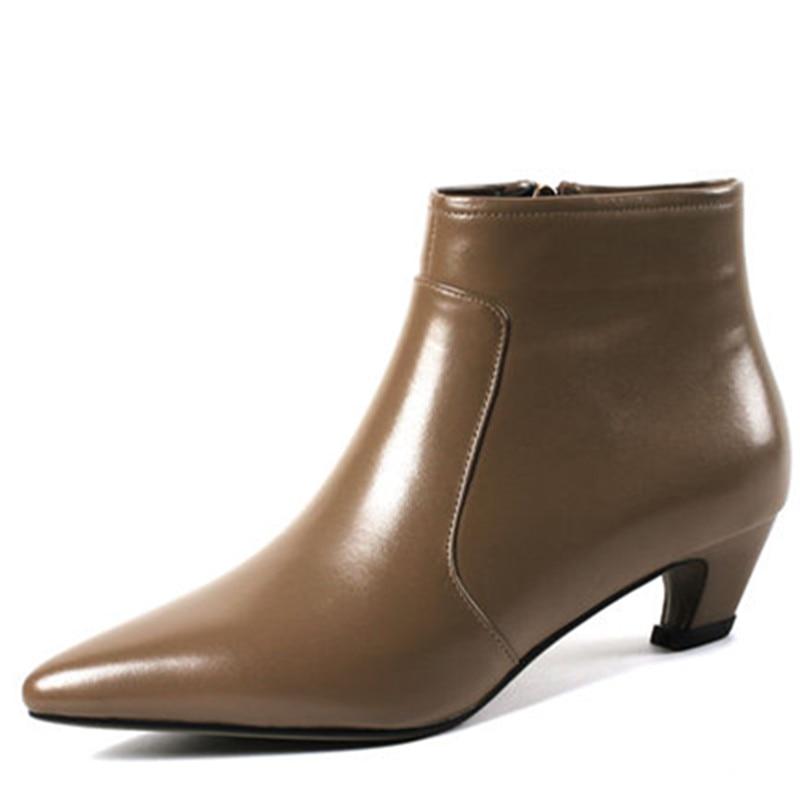 With Solide 2018 Pointu Arrivent Fur Cuir Hiver Nouveau Bas Fur Haute De brown Femmes Pour En Bottes Cheville Qualité Mode Bout black Fur Talons Black Asumer Not Véritable 1nad4qd