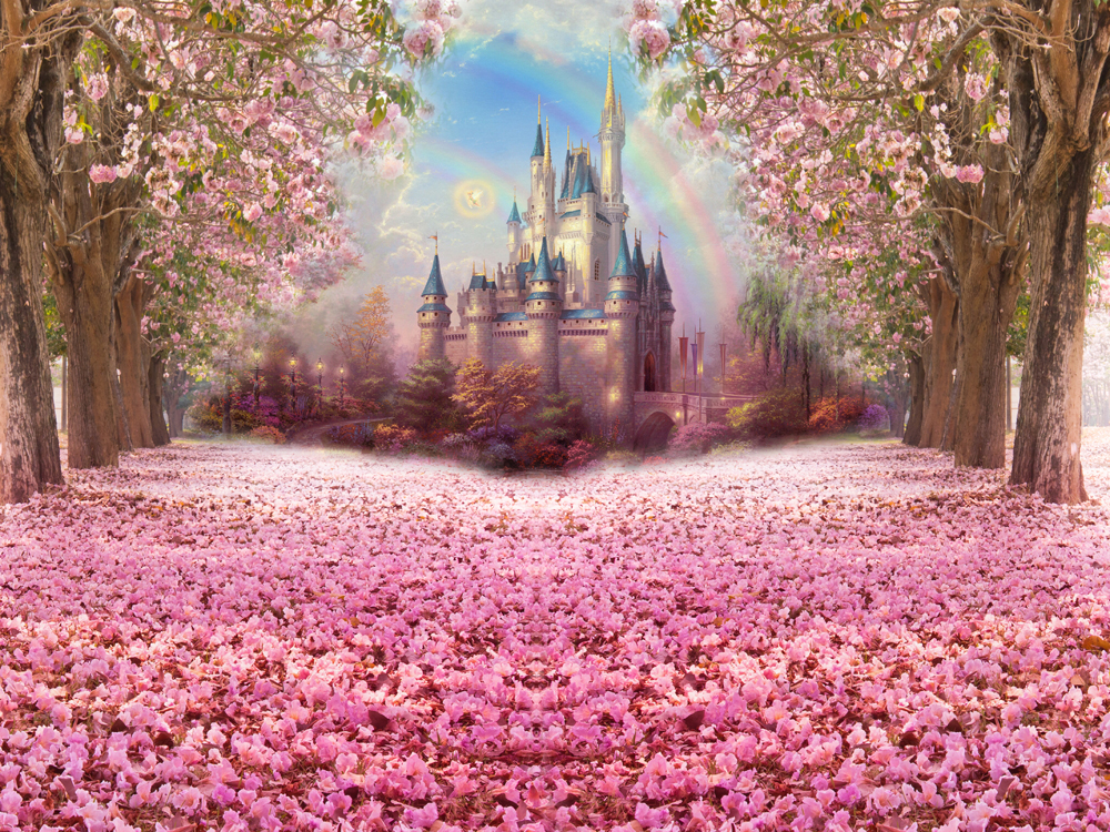 Photography Backdrops Fairy Tale Castle Pink Woods Princess Girls Photo Background Studio Props with Flowers on the Floor W-314 vinyl photography background fairy tale