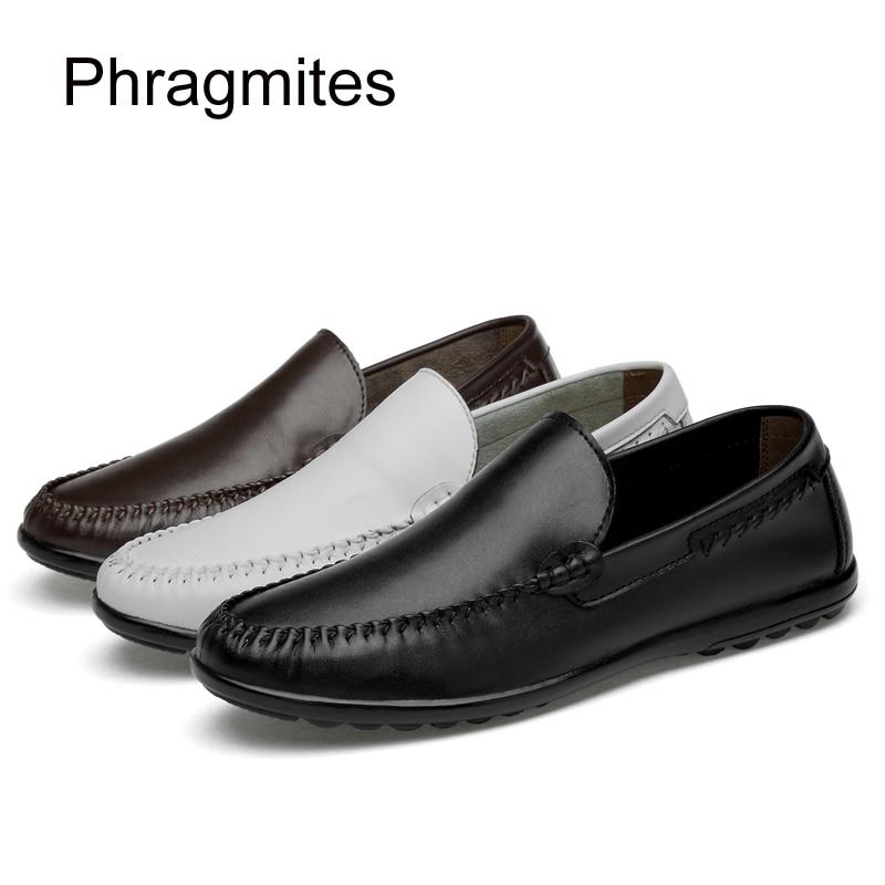 Barco Phragmites De Macios Condução Preto marrom Sapatos branco Gommino Homens Flats Eather Verão Estilo Genuíno Mocassins Mens Ix7APWq1wp