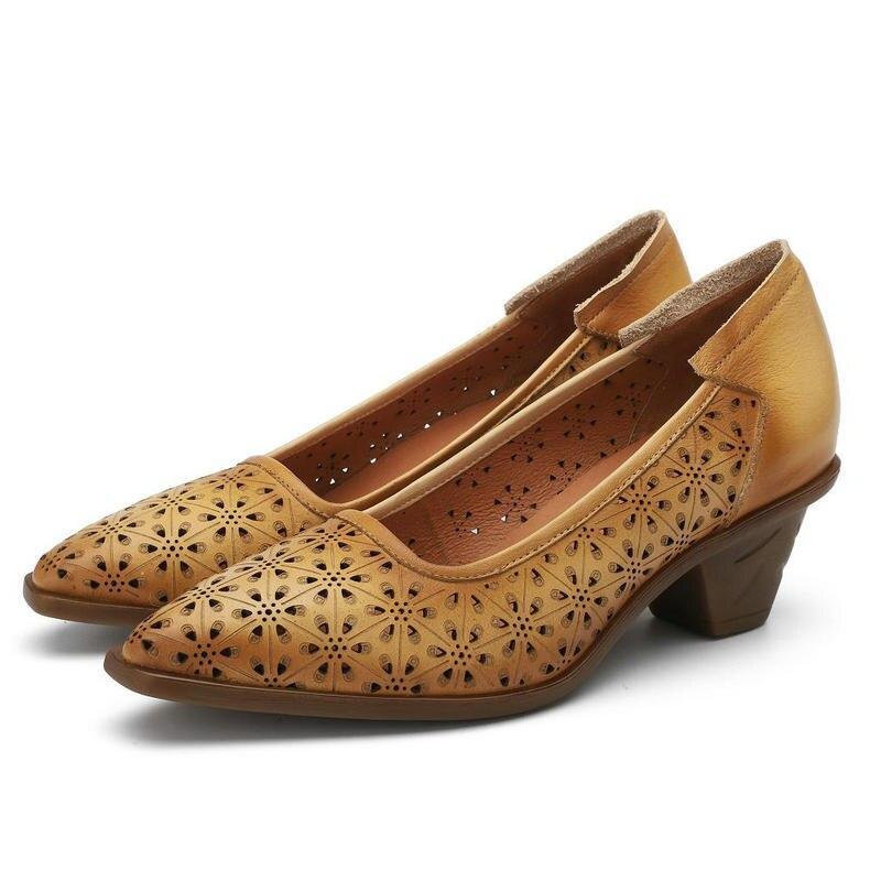 En Automne Sandales Véritable Printemps Hauts Carré Chaussures Peu Dames Talons Concise Cuir Pointu Nouveauté Talon Apricot Femmes Profonde Pompes w1XPqTY