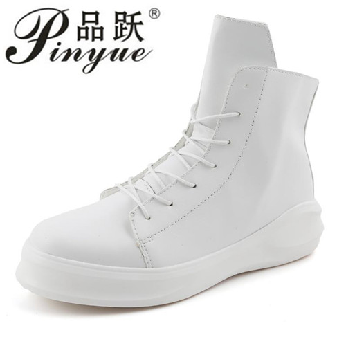 New Fashion High Top Casual Shoes For Men PU Leather Lace Up White Black Color Mens Casual Shoes Men High  boots new fashion high top casual shoes for men pu leather lace up all white black color mens casual shoes men high top sneakers