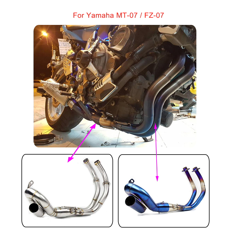 MTCLUB For Yamaha MT-07 FZ-07 MT07 FZ07 MT FZ 07 2013-17 Motorcycle Slip On Muffler Exhaust Full System Modified Pipe Never Used цены