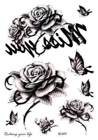 Rocooart Hitam Putih Rose Kupu Kupu Stiker Tato Sementara Sketsa Dada Lengan Tato Palsu Taty Untuk Wanita Pria Flash Tato Tatuaje Tato Stiker Sementara Tato Stikerbutterfly Sementara Tato Aliexpress