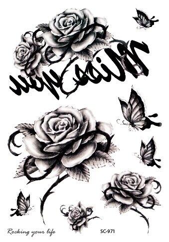 Us 09 50 Offrocooart Czarny Biała Róża Motyl Tymczasowa Naklejka Tatuaż Szkic W Klatce Piersiowej Ramię Fałszywy Tatuaż Taty Dla Kobiet Mężczyzn