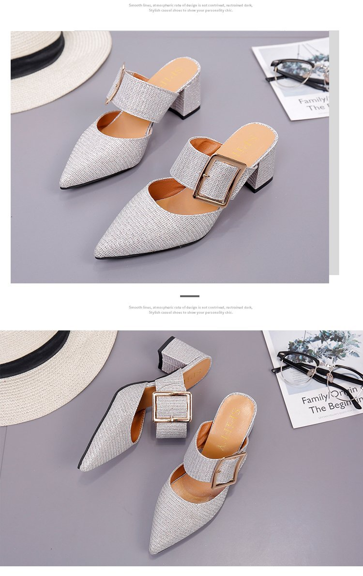 2019spring New Thick with Muller Shoes Women's High Heels Pointed Belt Buckle Back Air Slippers Elegant Temperament Baotou 15